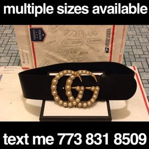 Gucci wide leather pearl buckle belt